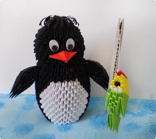 Пингвиненок из оригами