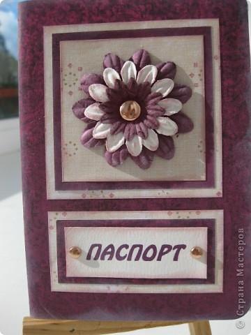 Скрапбукинг Аппликация: Обложка на паспорт (прикладной скрапбукинг) Бумага 8 марта, День рождения. Фото 1