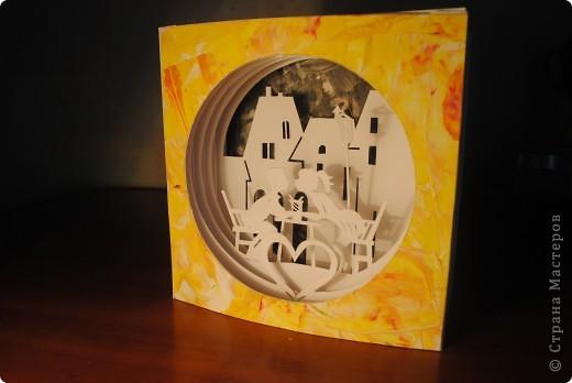 Открытка Бумажный туннель: влюбленная пара Бумага, Гуашь Валентинов день