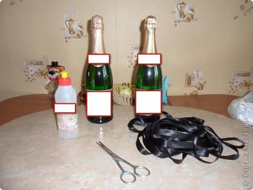 Мастер-класс Аппликация: Свадебные бутылочки и МК Ленты Свадьба. Фото 2