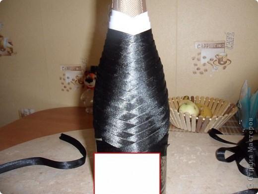 Мастер-класс Аппликация: Свадебные бутылочки и МК Ленты Свадьба. Фото 5