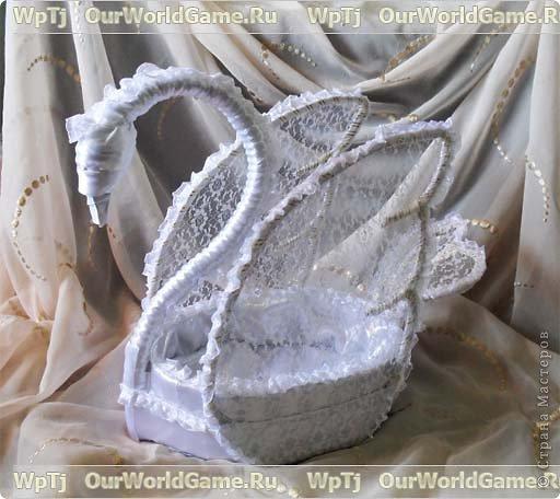 Мастер-класс, Поделка, изделие Моделирование: Мастер класс подарочная корзинка в форме лебедя Картон, Ленты Отдых. Фото 1