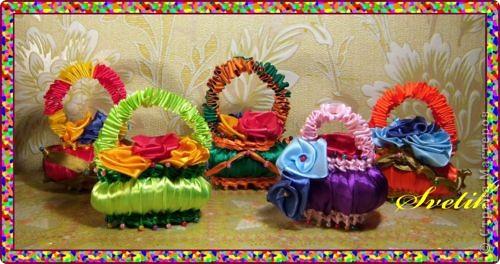 Поделка, изделие Плетение: мыльные корзиночки из лент Ленты. Фото 1