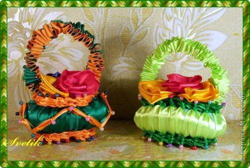 Поделка, изделие Плетение: мыльные корзиночки из лент Ленты. Фото 3
