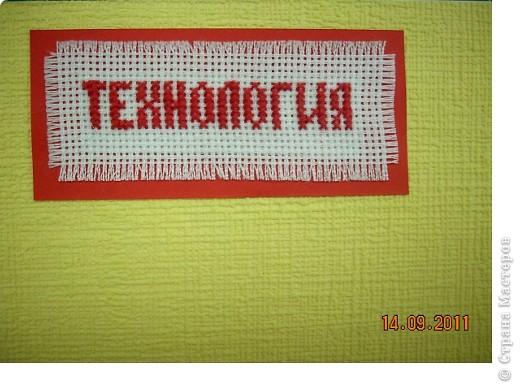 """Широкие возможности для школьного дизайна открывает предмет """"Технология"""". Использовать можно все техники, которые изучаются на уроке!  Представляю вам вариант обложки, в котором использованы: вышивка крестом, вязание крючком и аппликация.. Фото 5"""