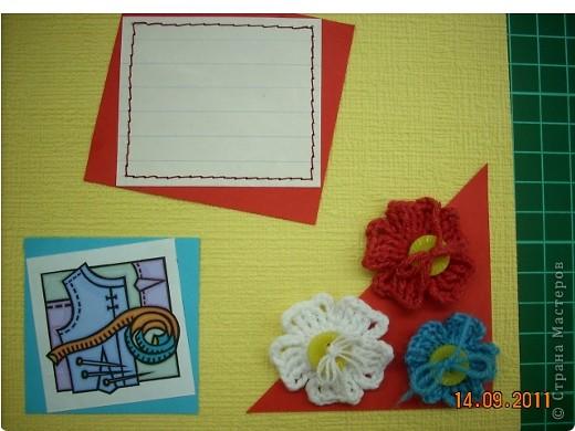 """Широкие возможности для школьного дизайна открывает предмет """"Технология"""". Использовать можно все техники, которые изучаются на уроке!  Представляю вам вариант обложки, в котором использованы: вышивка крестом, вязание крючком и аппликация.. Фото 13"""