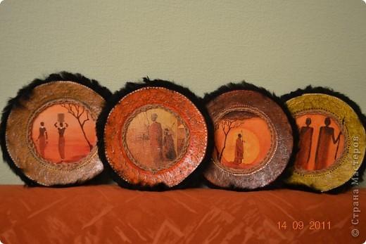 Мастер-класс Декупаж: Тарелки в этническом стиле. Клей, Мех, Пряжа, Салфетки Дебют. Фото 1
