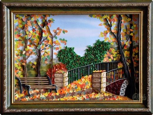 Картина, панно Квиллинг: Золотая осень. Квиллинг. Бумага, Бумажные полосы Праздник осени. Фото 1