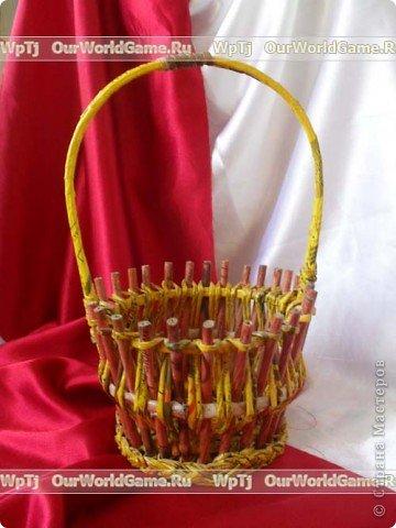 Мастер-класс Плетение: Мастер-класс ажурная корзинка из газетных трубочек. Бумага газетная. Фото 19