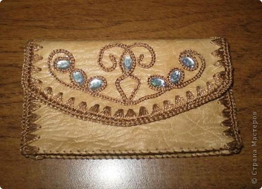 Поделка, изделие Вязание крючком, Шитьё: Сумочка и мелочи к ней Кожа, Нитки. Фото 3