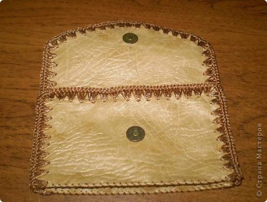 Поделка, изделие Вязание крючком, Шитьё: Сумочка и мелочи к ней Кожа, Нитки. Фото 4