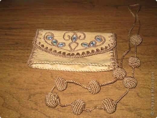 Поделка, изделие Вязание крючком, Шитьё: Сумочка и мелочи к ней Кожа, Нитки. Фото 5