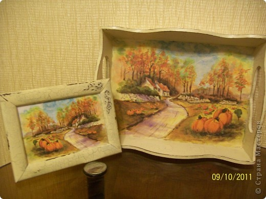Декупаж: Осенняя дорога. Бумага бархатная. Фото 1