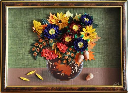 Картина, панно Квиллинг: Краски осени. Квиллинг. Бумажные полосы День рождения, День учителя, Начало учебного года, Праздник осени. Фото 1