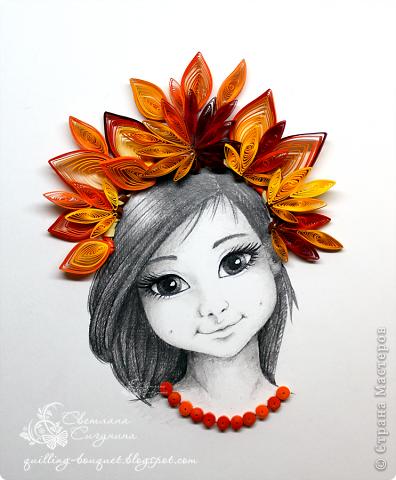 Картина, панно Квиллинг, Рисование и живопись: Девочка Осень Бумага, Карандаш Праздник осени