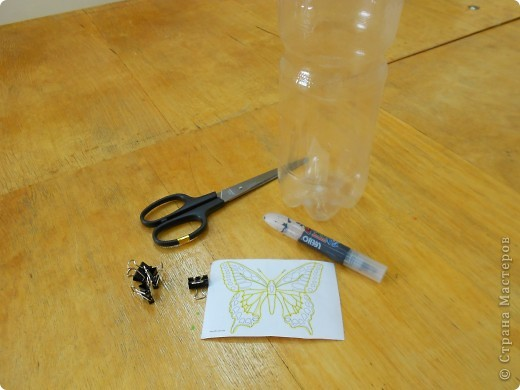Мастер-класс: Бабочка на бутылке из под воды Бутылки пластиковые. Фото 2