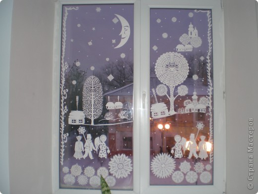 Интерьер Вырезание: Картина на окне Бумага Рождество. Фото 1