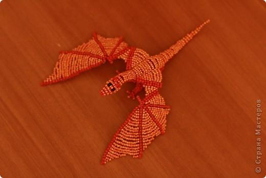 Поделка, изделие Бисероплетение: Дракон из бисера Бисер, Проволока. Фото 1