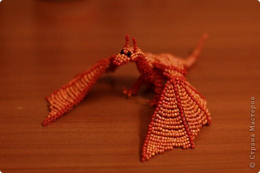 Поделка, изделие Бисероплетение: Дракон из бисера Бисер, Проволока. Фото 2