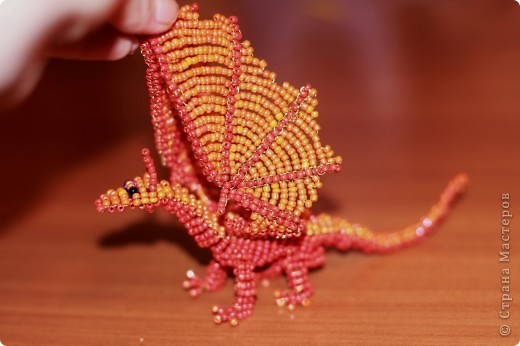 Поделка, изделие Бисероплетение: Дракон из бисера Бисер, Проволока. Фото 4