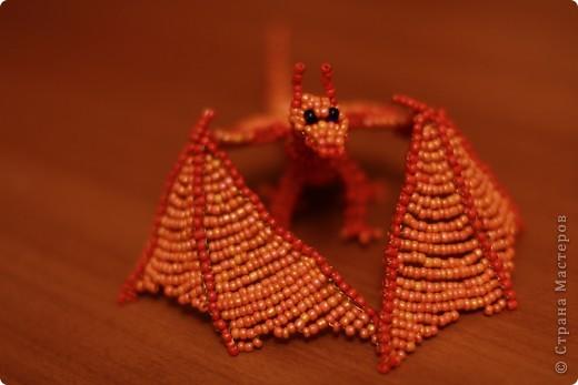 Поделка, изделие Бисероплетение: Дракон из бисера Бисер, Проволока. Фото 3