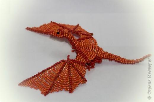 Поделка, изделие Бисероплетение: Дракон из бисера Бисер, Проволока. Фото 5