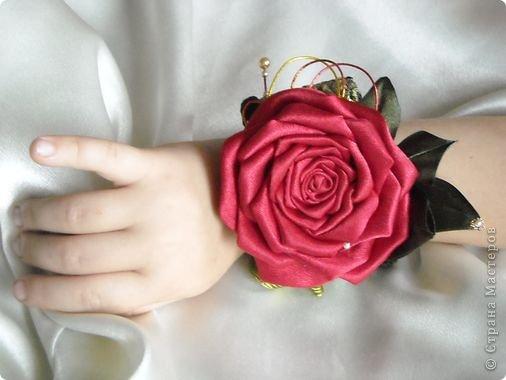 Мастер-класс Цумами Канзаши: Роза-канзаши. МК. Бусинки, Клей, Ленты, Нитки День рождения, Новый год, Свадьба. Фото 1