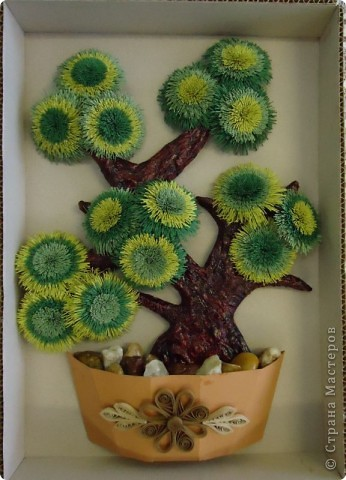 Картина, панно Квиллинг: Деревце к юбилею Бумага, Бумажные полосы, Краска День рождения. Фото 1