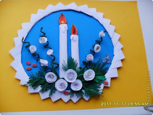 Картина, панно, рисунок Бумагопластика, Квиллинг, Оригами модульное: Новый год не за горами. Бумага, Бумажные полосы, Бусинки, Проволока Новый год. Фото 1