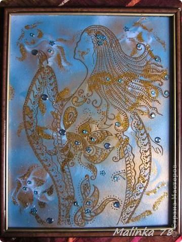 """Картина, панно Рисование и живопись: """"Созвездие девы"""" (сделано хной). Фото 1"""