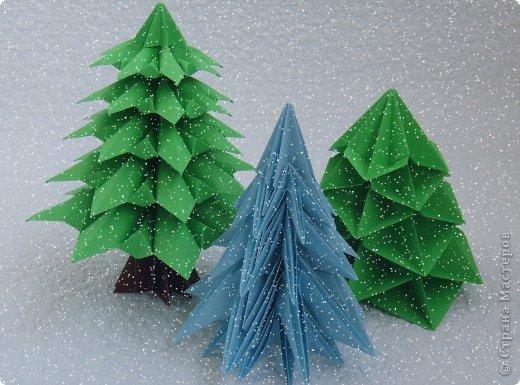 Поделка, изделие Оригами, Оригами модульное: Елки бумажки Бумага. Фото 1
