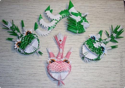 Мастер-класс Оригами модульное: Динозаврик Бумага Новый год. Фото 11