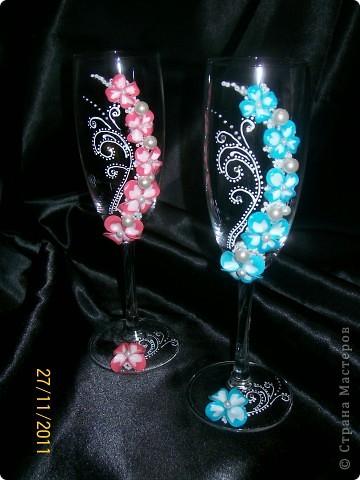 Декор предметов Лепка: ***Свадебные бокальчки*** Бисер, Бусинки, Пластика Свадьба. Фото 1