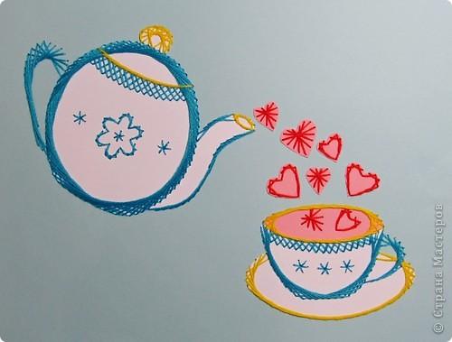 Картина, панно Изонить: Сердечный чай! Бумага, Нитки День рождения. Фото 1