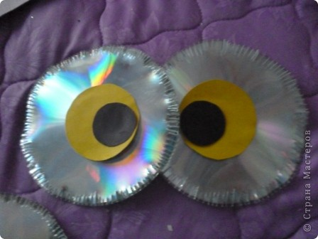 Мастер-класс: Делаем сову из CD дисков (МК) Идея взята по картинке из Интернета (фото ниже) Диски компьютерные. Фото 21