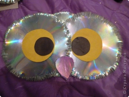 Мастер-класс: Делаем сову из CD дисков (МК) Идея взята по картинке из Интернета (фото ниже) Диски компьютерные. Фото 27