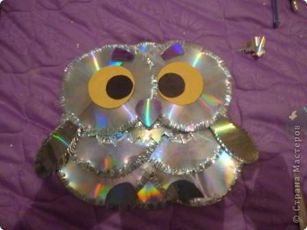 Мастер-класс: Делаем сову из CD дисков (МК) Идея взята по картинке из Интернета (фото ниже) Диски компьютерные. Фото 35