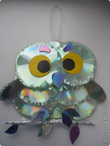 Мастер-класс: Делаем сову из CD дисков (МК) Идея взята по картинке из Интернета (фото ниже) Диски компьютерные. Фото 1