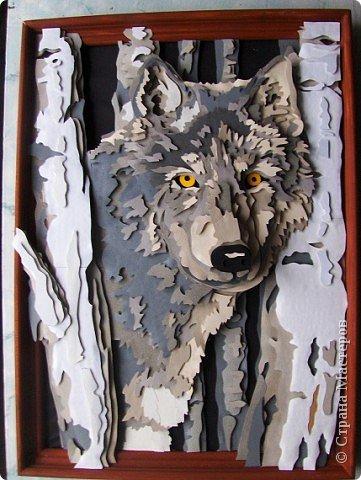 """Картина, панно Аппликация: 3D (объемная) аппликация """"Волк"""" Бумага. Фото 1"""
