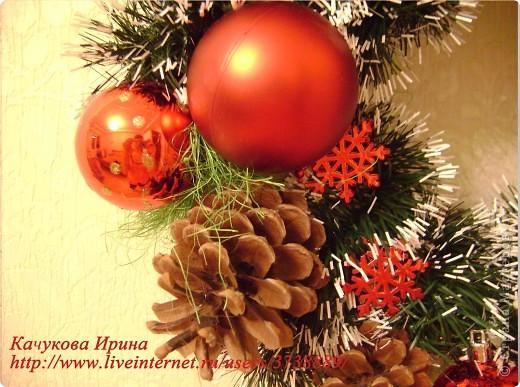 Интерьер, Мастер-класс: Рождественский венок Клей, Материал природный, Пенопласт, Шишки Новый год, Рождество. Фото 9