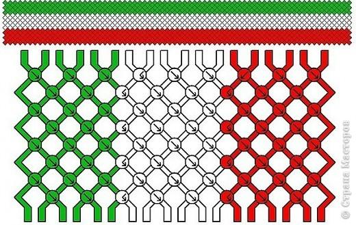 Фенечка прямое плетение три цвета