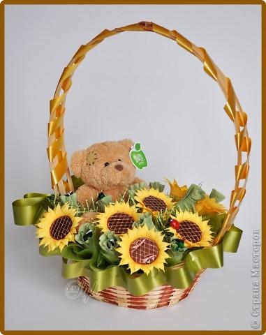 Свит-дизайн: Мишка в подсолнухах. 8 марта, Валентинов день, День рождения. Фото 1