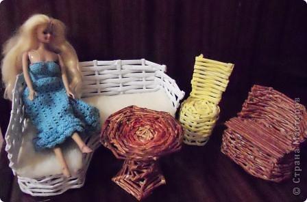 Поделка, изделие Плетение: Мебель для кукол. Бумага газетная Отдых. Фото 1