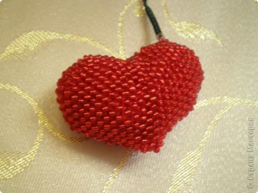 Мастер-класс, Презент от Голубки Вязание крючком: Бисерное сердце. МК Бисер, Пряжа Валентинов день. Фото 10