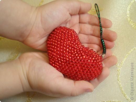 Мастер-класс, Презент от Голубки Вязание крючком: Бисерное сердце. МК Бисер, Пряжа Валентинов день. Фото 11