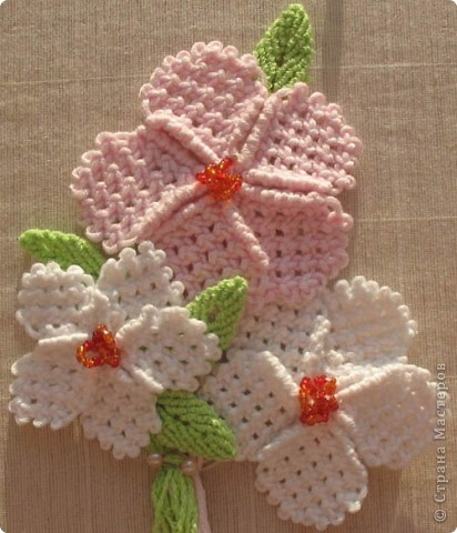 Мастер-класс Макраме, Плетение: Макраме цветок из квадратных узлов Бисер, Нитки