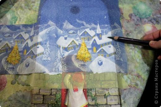 Декор предметов, Мастер-класс Декупаж: как соединить 2 салфетки м\к Салфетки Новый год. Фото 10