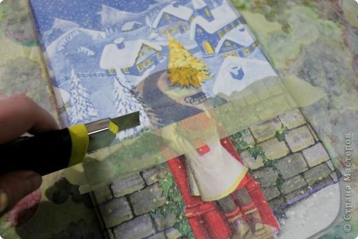 Декор предметов, Мастер-класс Декупаж: как соединить 2 салфетки м\к Салфетки Новый год. Фото 17