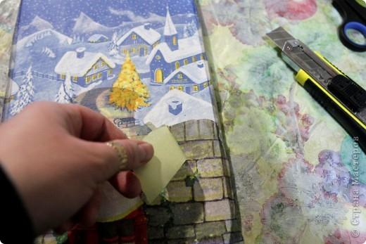 Декор предметов, Мастер-класс Декупаж: как соединить 2 салфетки м\к Салфетки Новый год. Фото 19