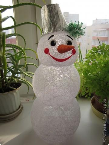 Снеговик из пряжи своими руками фото